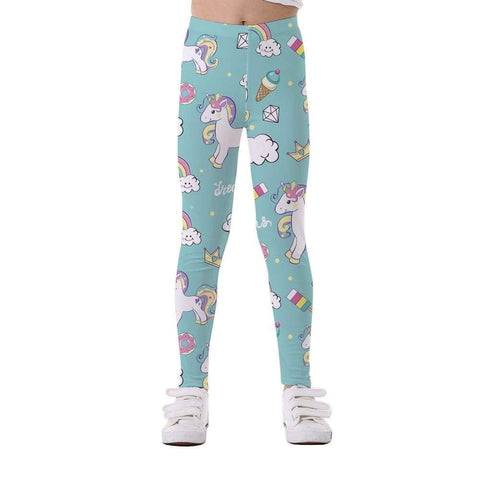 Legging fille licorne turquoise - passionduleggings