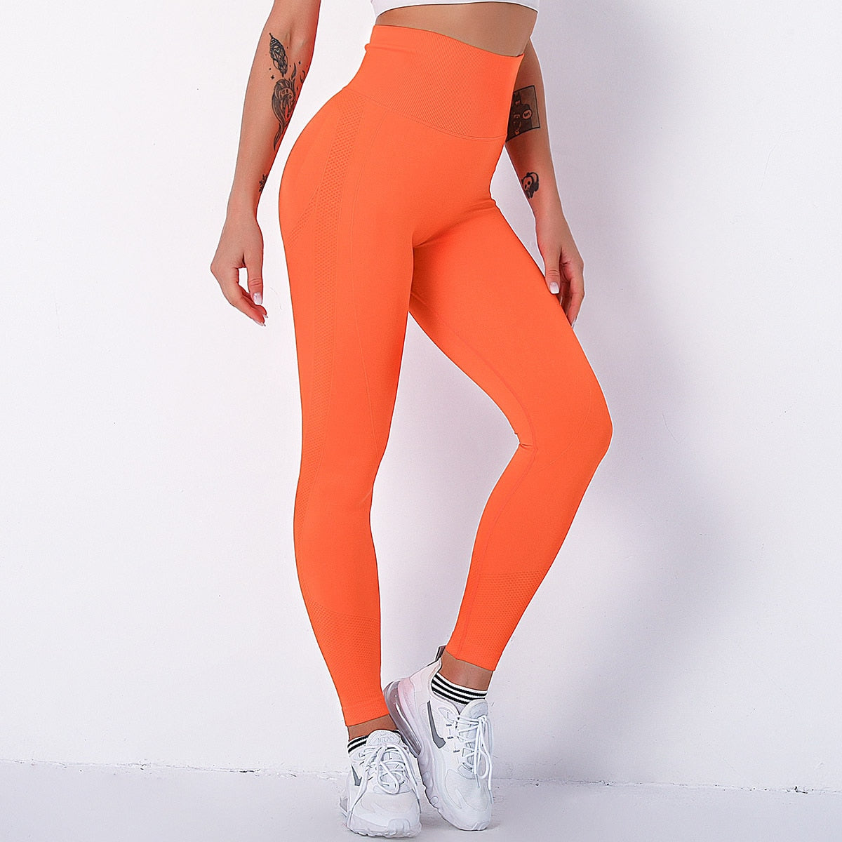 legging taille haute push up, sport, orange
