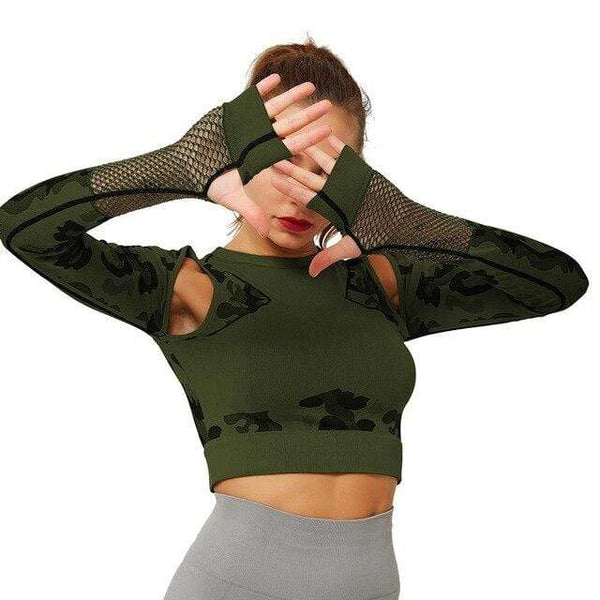 Top de sport, camouflage, maille - passionduleggings