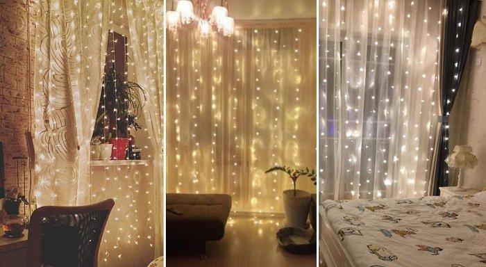 I really like the idea of decorating curtains with a garland. I can't stop looking at such beauty!