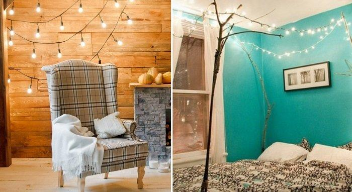 Garlands attached to double-sided tape and hanging from the ceiling create a truly fabulous effect.