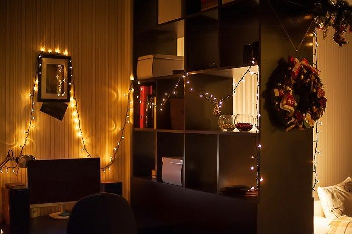 Decorating a house with electric garlands is the easiest way to add a festive note to the interior, when there is not much time left before Christmas and New Year.