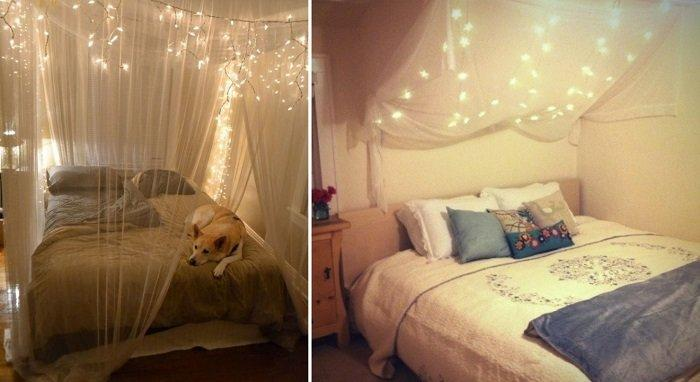 Or you can put electric garlands over the bed to have sweet dreams. Use garlands of small LED bulbs for this - they will not overload the canopy.