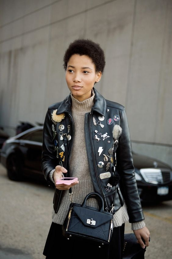 Even one brooch or one Pins on the lapel of a leather jacket will look great