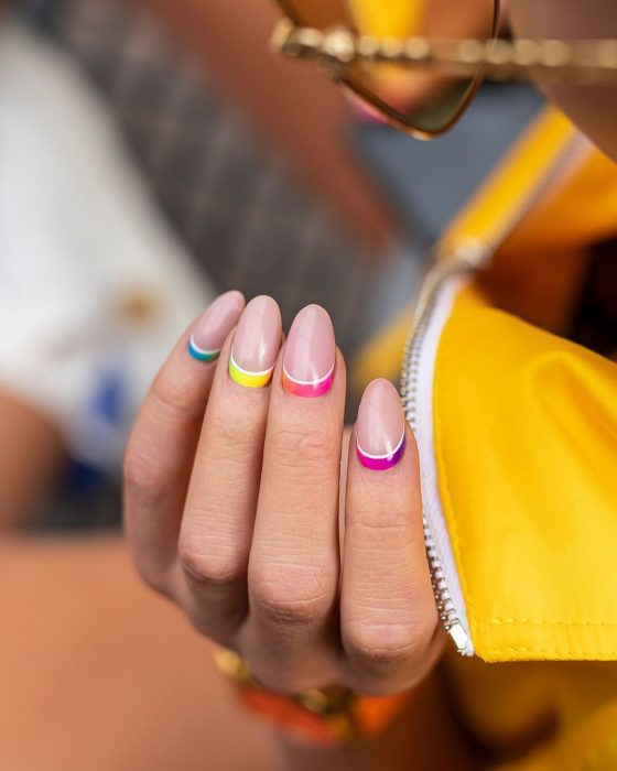 You can also add stripes at the base, sides or center of the nail.
