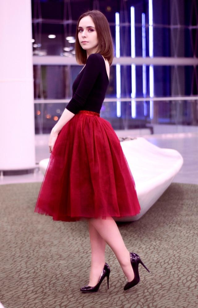 Summer Midi 5 Layers Tulle Skirt
