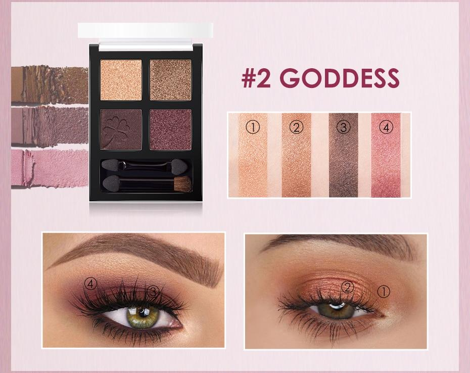 4 colors Glitter Eyeshadow Palette Hopikas