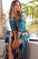 Load image into Gallery viewer, Bohemian Maxi Dress Hopikas Green L