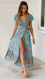 Load image into Gallery viewer, Boho Long Dress Hopikas Green S