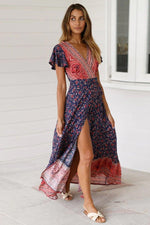 Load image into Gallery viewer, Boho Long Dress Hopikas Royal blue L