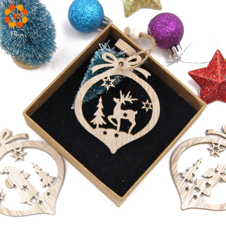 Box Vintage Hollow Christmas Wooden Pendants Hopikas