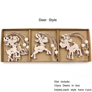 Box Vintage Hollow Christmas Wooden Pendants Hopikas Box-Deer Style