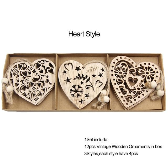 Box Vintage Hollow Christmas Wooden Pendants Hopikas Box-Heart Style