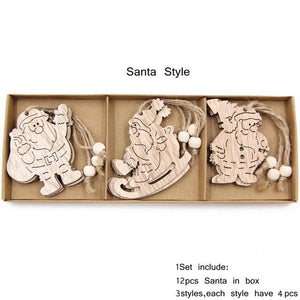 Box Vintage Hollow Christmas Wooden Pendants Hopikas Box-Santa Style