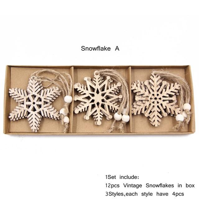 Box Vintage Hollow Christmas Wooden Pendants Hopikas Box-Snowflake A
