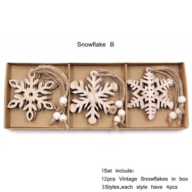 Box Vintage Hollow Christmas Wooden Pendants Hopikas Box-Snowflake B