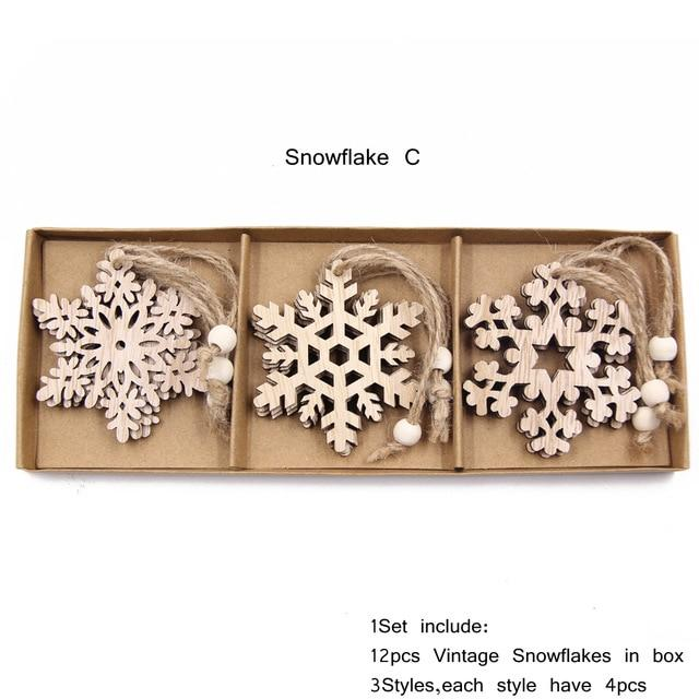 Box Vintage Hollow Christmas Wooden Pendants Hopikas Box-Snowflake C