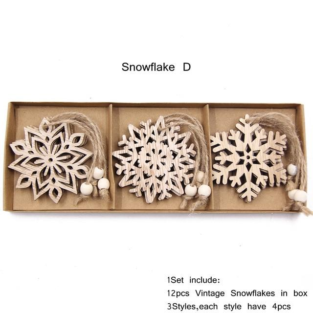 Box Vintage Hollow Christmas Wooden Pendants Hopikas Box-Snowflake D