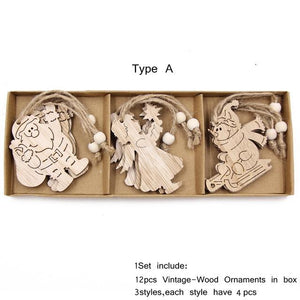 Box Vintage Hollow Christmas Wooden Pendants Hopikas Box-Type A