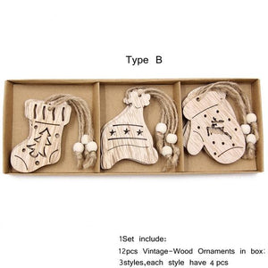 Box Vintage Hollow Christmas Wooden Pendants Hopikas Box-Type B