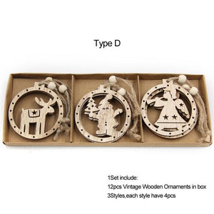 Box Vintage Hollow Christmas Wooden Pendants Hopikas Box-Type D
