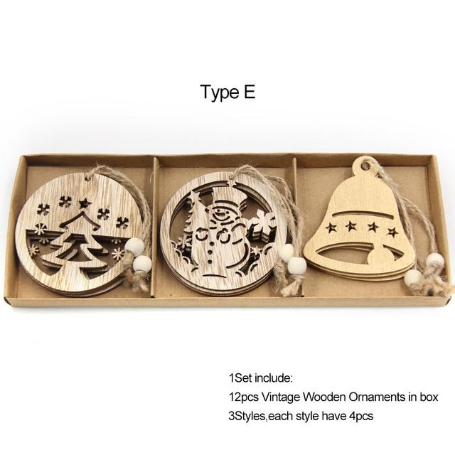 Box Vintage Hollow Christmas Wooden Pendants Hopikas Box-Type E
