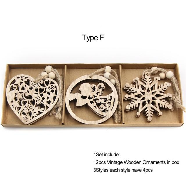 Box Vintage Hollow Christmas Wooden Pendants Hopikas Box-Type F