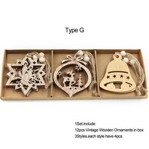 Box Vintage Hollow Christmas Wooden Pendants Hopikas Box-Type G