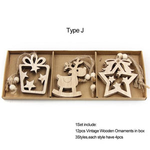 Box Vintage Hollow Christmas Wooden Pendants Hopikas Box-Type J