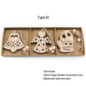 Box Vintage Hollow Christmas Wooden Pendants Hopikas Box-Type M