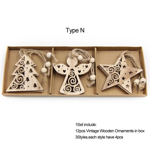 Box Vintage Hollow Christmas Wooden Pendants Hopikas Box-Type N