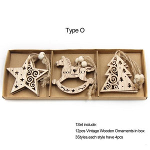 Box Vintage Hollow Christmas Wooden Pendants Hopikas Box-Type O