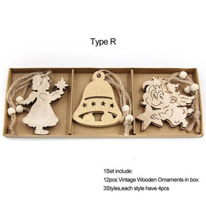 Box Vintage Hollow Christmas Wooden Pendants Hopikas Box-Type R