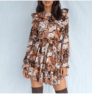 Casual Floral Dress Hopikas Brown L