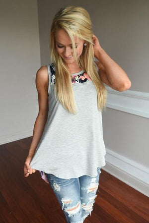 Casual Sleeveless O-neck Printed T-shirt Hopikas Gray S