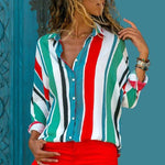 Load image into Gallery viewer, Chiffon Blouse Plus Size Hopikas red line S
