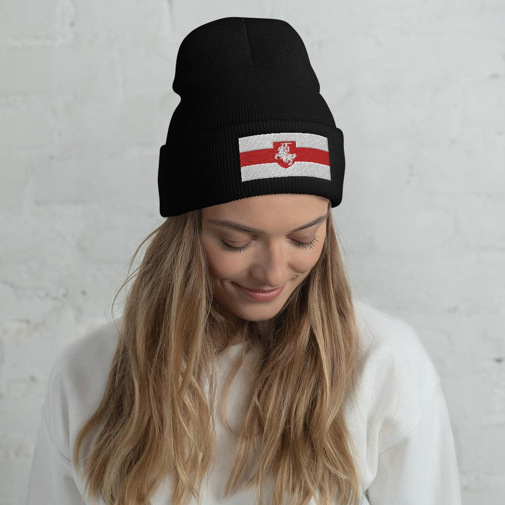 "Cuffed Beanie Flag of Belarus with coat of arms ""Chase"" Hopikas Black"