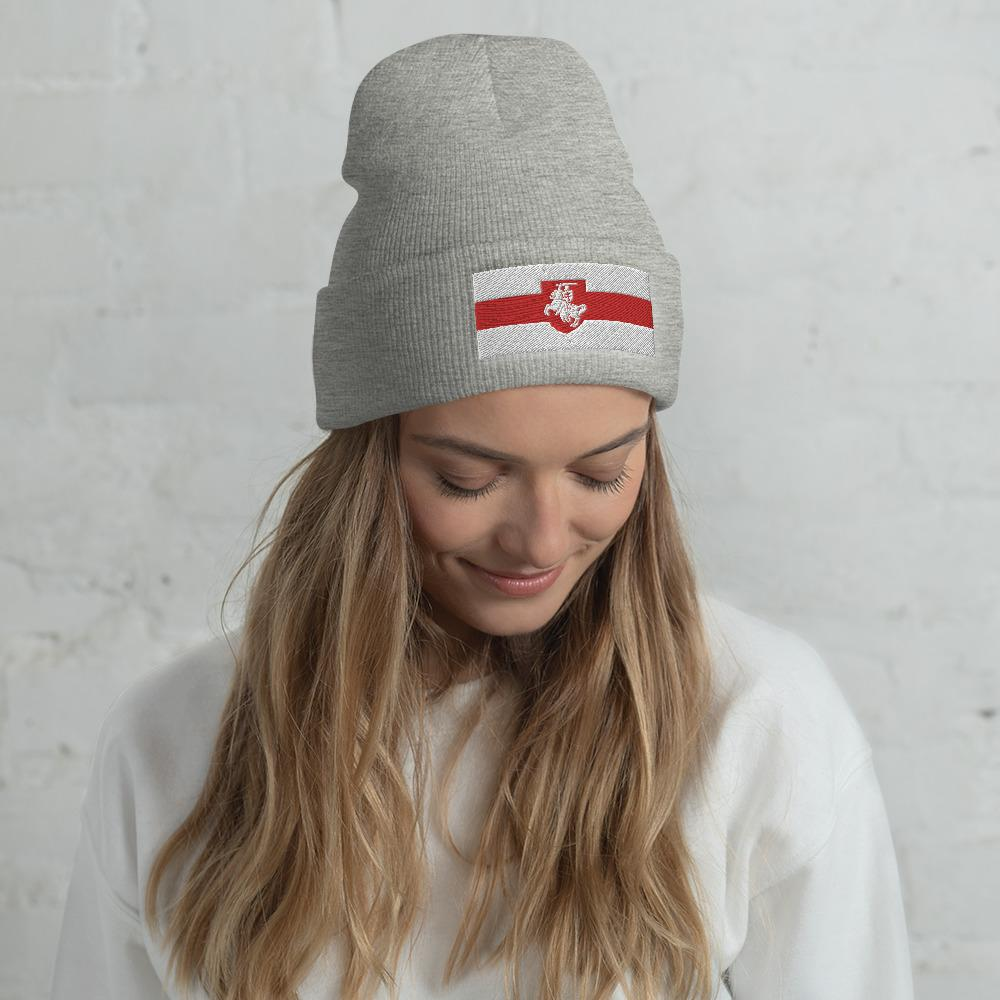 "Cuffed Beanie Flag of Belarus with coat of arms ""Chase"" Hopikas Heather Grey"