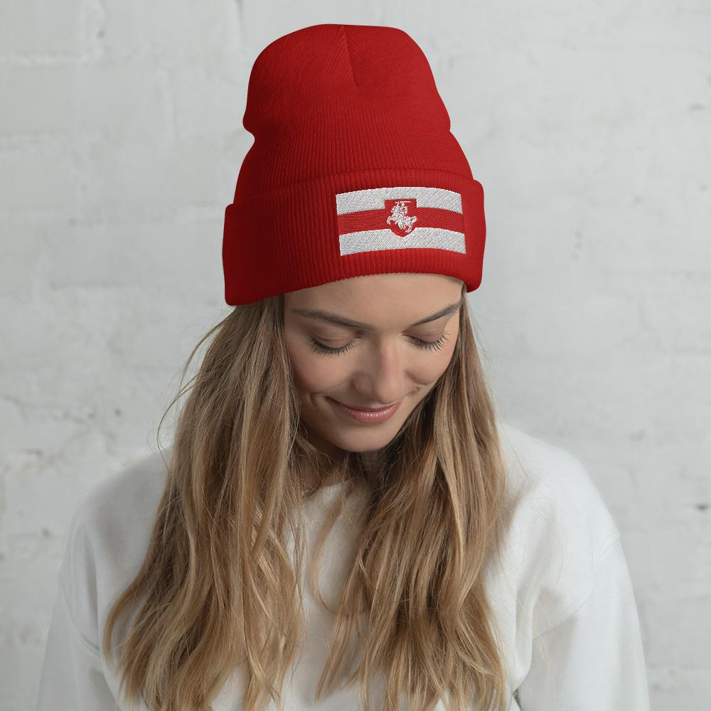 "Cuffed Beanie Flag of Belarus with coat of arms ""Chase"" Hopikas Red"