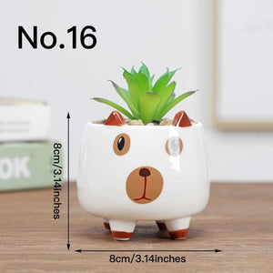 Cute Animal Flower Pot Ceramic Vase Hopikas No.16