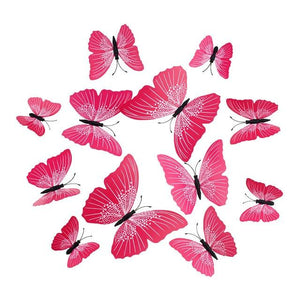 Cute Butterflies Wall stickers art Decals Home Decoration Hopikas Rose Red