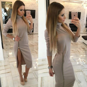 Elegant Zipper Dress Hopikas gray S