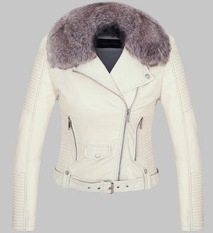 Faux Leather Jacket Hopikas White S