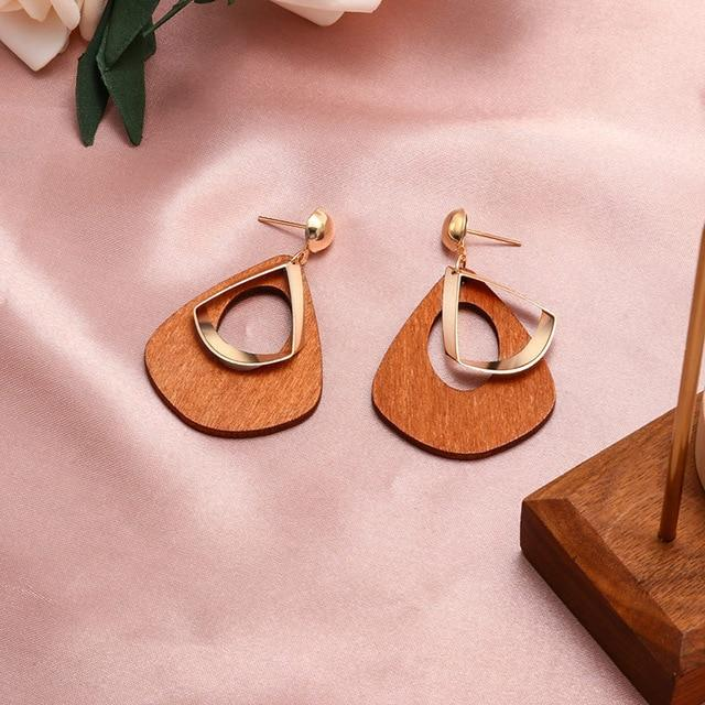 Geometric Earring Hopikas Brown 2