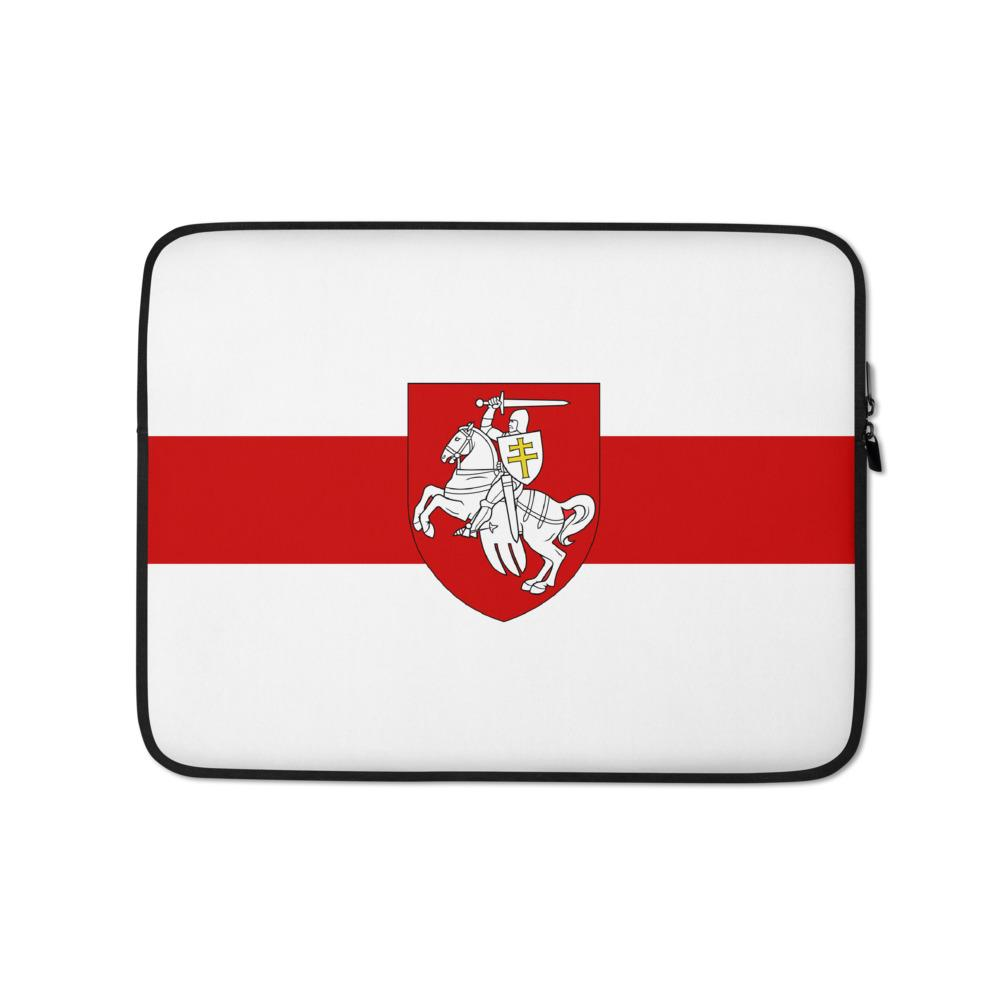 "Laptop Sleeve Flag of Belarus with coat of arms ""Chase"" Hopikas 13 in"