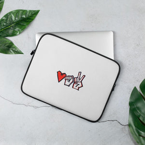 "Laptop Sleeve with a symbol of protest in Belarus Fist, heart and ""victory"" Hopikas 13 in"