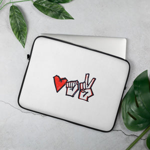 "Laptop Sleeve with a symbol of protest in Belarus Fist, heart and ""victory"" Hopikas 15 in"