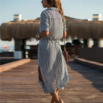 Load image into Gallery viewer, Long Chiffon Beach Dress Casual Long Sleeve Hopikas