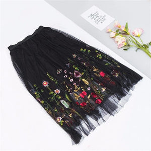 long Skirt Floral Embroidery Hopikas Black One Size