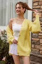 Load image into Gallery viewer, Long Sleeve Knitting Cardigan sweater Hopikas M Yellow